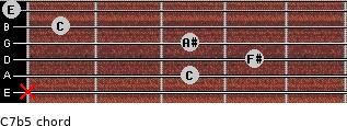 C7b5 for guitar on frets x, 3, 4, 3, 1, 0