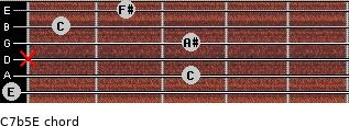 C7b5/E for guitar on frets 0, 3, x, 3, 1, 2