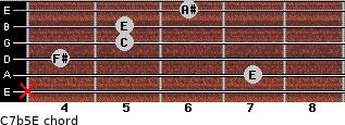 C7b5/E for guitar on frets x, 7, 4, 5, 5, 6