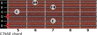 C7b5/E for guitar on frets x, 7, x, 5, 7, 6