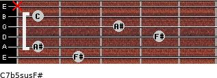 C7b5sus/F# for guitar on frets 2, 1, 4, 3, 1, x