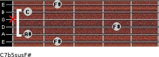C7b5sus/F# for guitar on frets 2, 1, 4, x, 1, 2