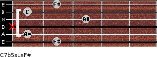 C7b5sus/F# for guitar on frets 2, 1, x, 3, 1, 2