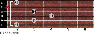 C7b5sus/F# for guitar on frets 2, 3, 4, 3, x, 2