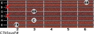 C7b5sus/F# for guitar on frets 2, 3, x, 3, x, 6