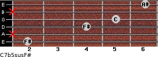 C7b5sus/F# for guitar on frets 2, x, 4, 5, x, 6