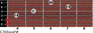 C7b5sus/F# for guitar on frets x, x, 4, 5, 7, 6