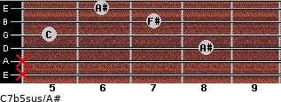 C7b5sus/A# for guitar on frets x, x, 8, 5, 7, 6