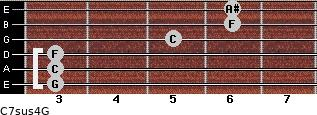 C7sus4\G for guitar on frets 3, 3, 3, 5, 6, 6