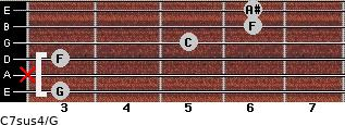 C7sus4\G for guitar on frets 3, x, 3, 5, 6, 6
