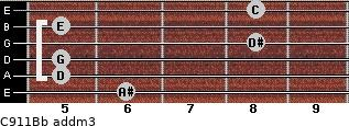 C9/11/Bb add(m3) guitar chord