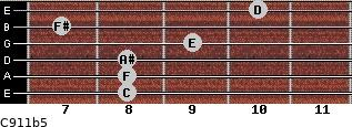 C9/11b5 for guitar on frets 8, 8, 8, 9, 7, 10