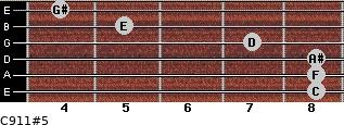 C9/11#5 for guitar on frets 8, 8, 8, 7, 5, 4