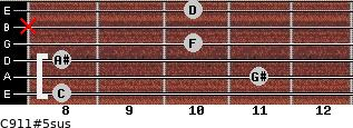 C9/11#5sus for guitar on frets 8, 11, 8, 10, x, 10