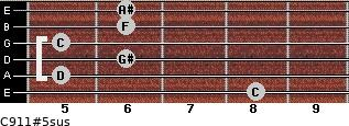 C9/11#5sus for guitar on frets 8, 5, 6, 5, 6, 6