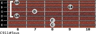 C9/11#5sus for guitar on frets 8, 8, 6, 7, 9, 6