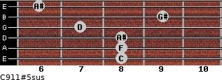 C9/11#5sus for guitar on frets 8, 8, 8, 7, 9, 6