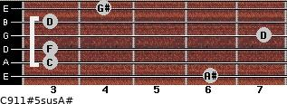 C9/11#5sus/A# for guitar on frets 6, 3, 3, 7, 3, 4
