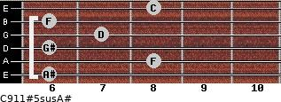 C9/11#5sus/A# for guitar on frets 6, 8, 6, 7, 6, 8