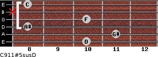 C9/11#5sus/D for guitar on frets 10, 11, 8, 10, x, 8