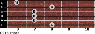 C9/13 for guitar on frets 8, 7, 7, 7, 8, 6