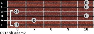 C9/13/Bb add(m2) guitar chord