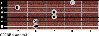 C9/13/Bb add(m3) guitar chord