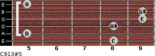 C9/13#5 for guitar on frets 8, 5, 8, 9, 9, 5
