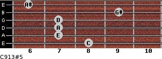 C9/13#5 for guitar on frets 8, 7, 7, 7, 9, 6