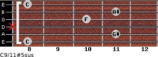 C9/11#5sus for guitar on frets 8, 11, x, 10, 11, 8