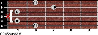 C9b5sus/A# for guitar on frets 6, 5, x, 5, 7, 6