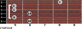 C9#5/A# for guitar on frets 6, 5, 6, 5, 5, 8