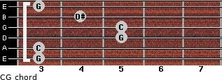 C-\G for guitar on frets 3, 3, 5, 5, 4, 3