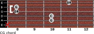 C-\G for guitar on frets x, 10, 10, 8, 8, 11