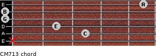 CM7/13 for guitar on frets x, 3, 2, 0, 0, 5