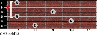 CM7(add13) for guitar on frets 8, 10, 7, 9, x, 7