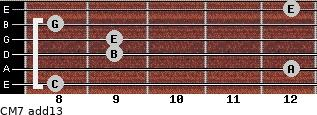 CM7(add13) for guitar on frets 8, 12, 9, 9, 8, 12