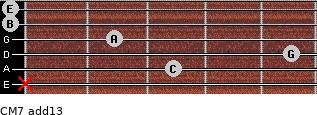 CM7(add13) for guitar on frets x, 3, 5, 2, 0, 0