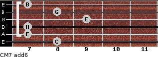 CM7(add6) for guitar on frets 8, 7, 7, 9, 8, 7