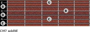 CM7(add9)\E for guitar on frets 0, 3, 0, 4, 0, 3