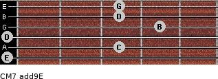 CM7(add9)\E for guitar on frets 0, 3, 0, 4, 3, 3