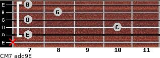 CM7(add9)\E for guitar on frets x, 7, 10, 7, 8, 7