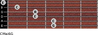 CMaj6\G for guitar on frets 3, 3, 2, 2, 1, 0