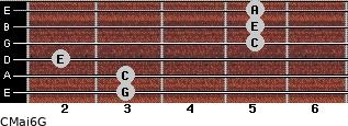 CMaj6\G for guitar on frets 3, 3, 2, 5, 5, 5