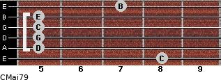 CMaj7/9 for guitar on frets 8, 5, 5, 5, 5, 7