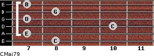 CMaj7/9 for guitar on frets 8, 7, 10, 7, 8, 7