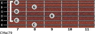 CMaj7/9 for guitar on frets 8, 7, 9, 7, 8, 7