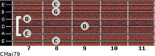 CMaj7/9 for guitar on frets 8, 7, 9, 7, 8, 8