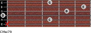 CMaj7/9 for guitar on frets x, 3, 0, 4, 5, 3