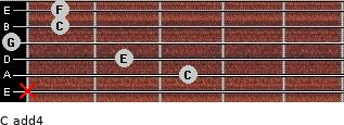 C add(4) for guitar on frets x, 3, 2, 0, 1, 1